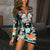 2019 Fashion Women Floral Bird Print Midi Dress Office Ladies Long Sleeve Sheath Sexy Zipper Dress Elegant
