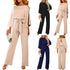 2019 Female Fashion Jumpsuits Women Autumn Cotton  Long Sleeve Bow Belt Casual Loose Romper Trousers Ladies Pants New