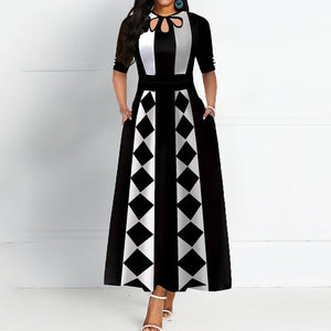 2020 Spring Summer Plus Size African Party Dress Long Elegant Vintage Robe Black Maxi Dresses A Line Print Office Vestidos 2XL