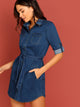 Button Front Waist Tie Long Sleeve Denim Dress