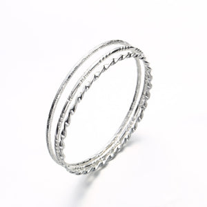 3PCS/SET Silver Color Hoop Bangles Bracelets For Women Metal Wire Big Circle Personality Punk Bangle Fine Jewelry Party Gift
