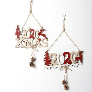 Christmas Decoration Wooden 2020 XMAS Letters Door Hanging Pendant Christmas Tree Decorations Ornaments Noel Navidad 2020 Decors
