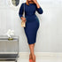 Elegant Office Ladies Workwear Midi Dress 2020 Spring African Style Women Plus Size Dark Blue Retro Dresses Vintage Vestiods