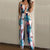 Floral print women jumpsuit Elegant off shoulder Spaghetti Strap ladies long jumpsuit