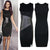 Ladies Sexy Slim Fashion Mesh Women Clubwear Zipper Black Elegant Slim Pencil Dress leather patchwork dress