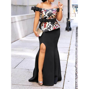 High Waist Off Shoulder Bodycon Dress