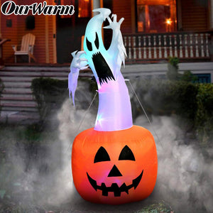 OurWarm 6ft Halloween Inflatable Pumpkin Ghost Halloween Decorations Outdoor Scary Blow in Pumpkin Up Color Changing Light