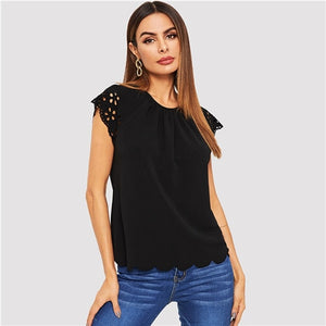Black Laser Cut Keyhole Back Scallop Hem Solid Tee Round Neck Cap Sleeve T Shirt Women Summer Casual Plain Tshirt Tops
