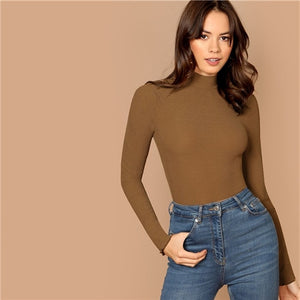 Brown Office Lady Basic Solid Mock Neck Slim Fit Long Sleeve Minimalist Tee