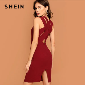 Plunging Neck Pencil Dress