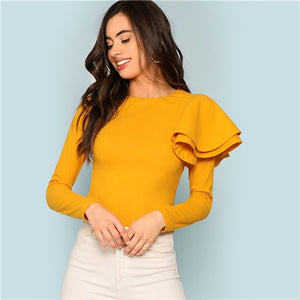 Ginger Zip Back Ruffle One Sleeve Tee Elegant Solid  Slim Fit Long Sleeve T-shirt