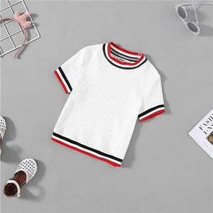 Kiddie White Striped Ribbed Casual T Shirt For Girls
