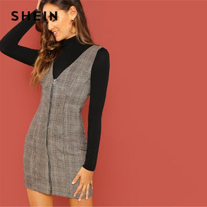 Sleeveless Sheath Plaid Dress