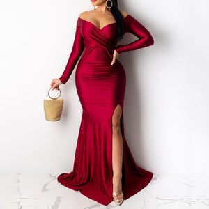 High Waist V-Neck Mermaid Dress