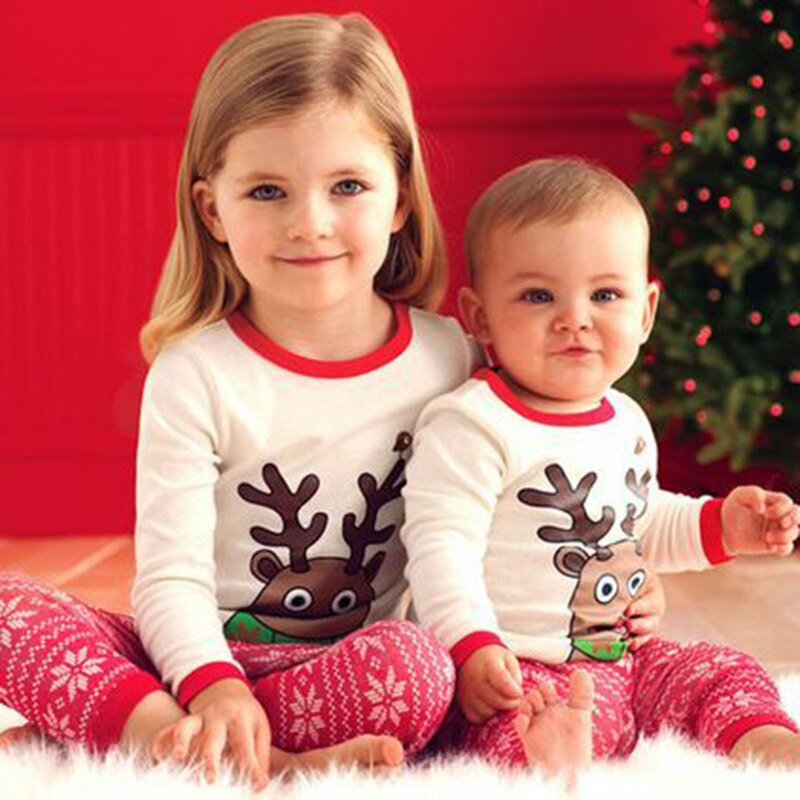 Red Plaid Pants Reindeer Clothes Sets 2Pcs Christmas Little Girls Outfits Long Sleeve Fawn Tops