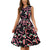 Christmas Dress Women O Neck Sleeveless Bow Black Christmas Walking Stick Cartoon Print Lace Plus Size Loose Red vestido