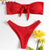 Push Up Padded Scoop Neck Woman Swimwear Solid Color Beachwear Brazilian Bikini