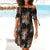 Halter Neck Boho Print Off Shouder Casual Mini Dress