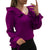 solid chiffon blouse purple women Elegant Pure Color V-neck Ruffle Long Sleeve Chiffon Casual Blouses