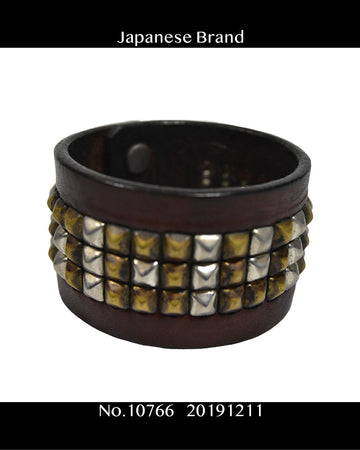 Japanese Brand / Studs Leather Bracelet / 10766 - 1211 36.5