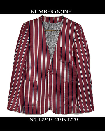 NUMBER NINE/NoCollarStripeTailoredJacket/10940 - 1220 123.4