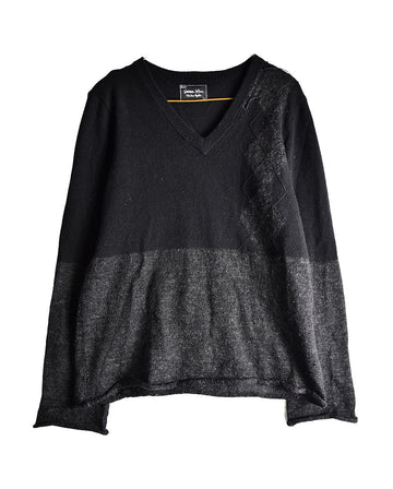 NUMBER NINE/Black Two Design Knit Sweater/11437 - 0114 51.9