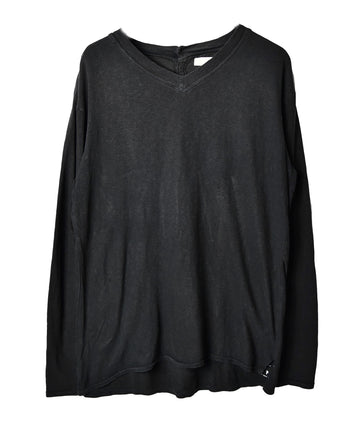 KAPITAL/Black Back Henley T-Shirt/12715 - 0324 57.4