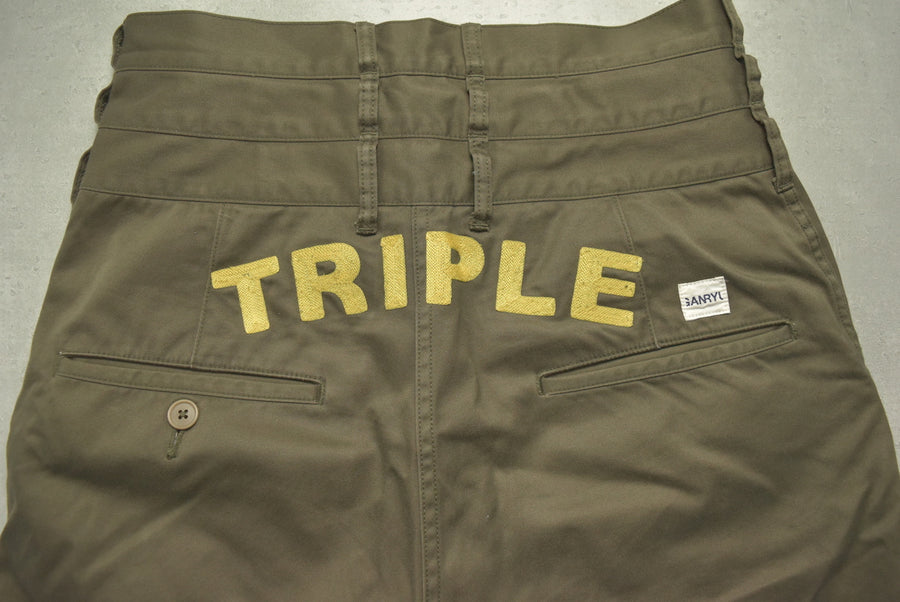 GANRYU / Olive Triple Waist Cotton Pants