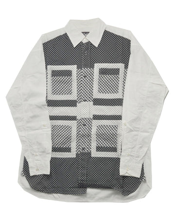 GANRYU / Monotone Patchwork Graphic Shirt