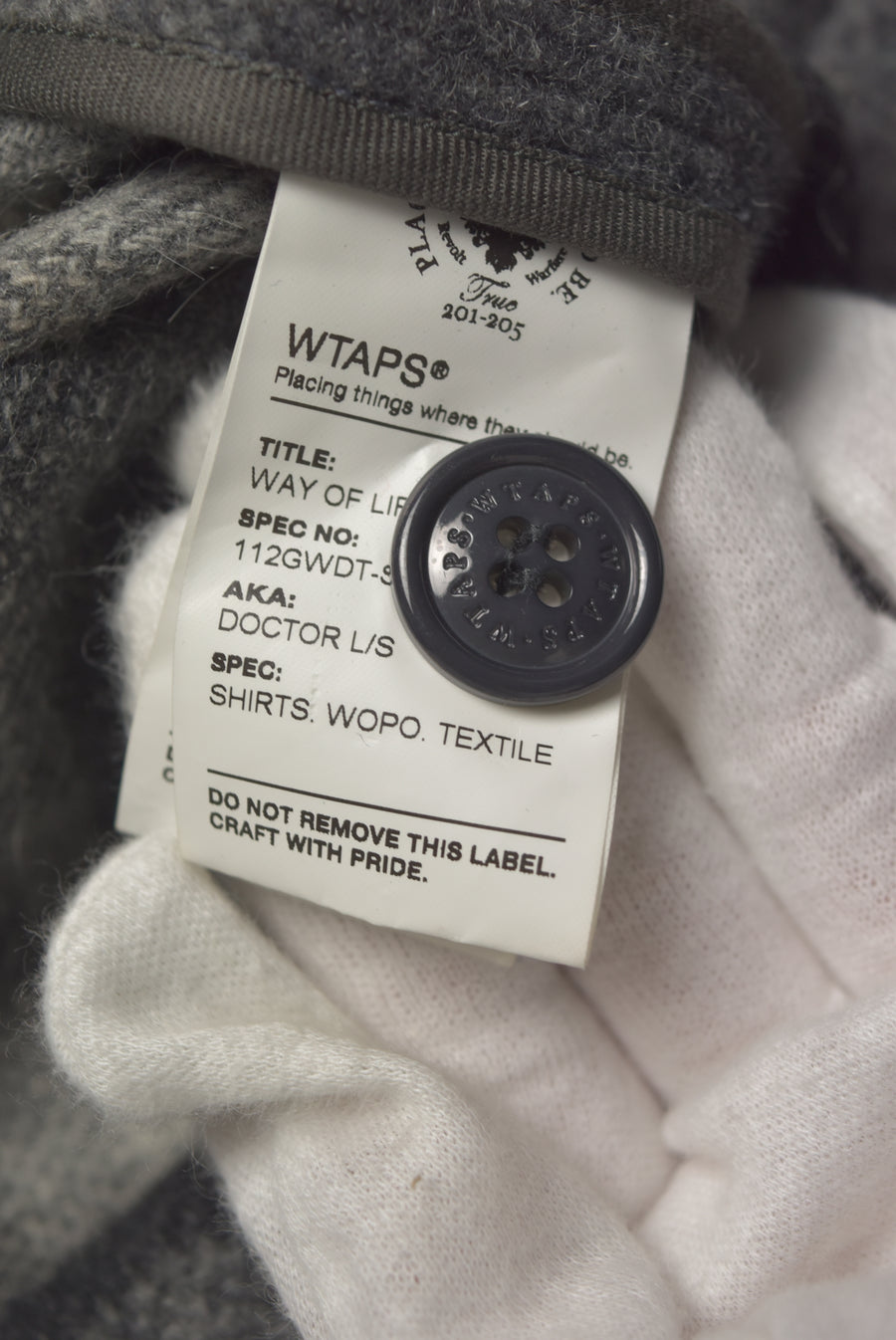 WTAPS / Grey Wool Check Coat