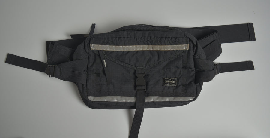 PORTER / Black Sporty Waist Bag