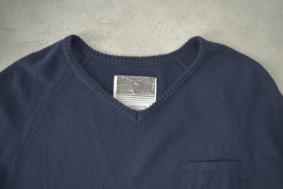 nonnative / V-neck patchwork knit sweater