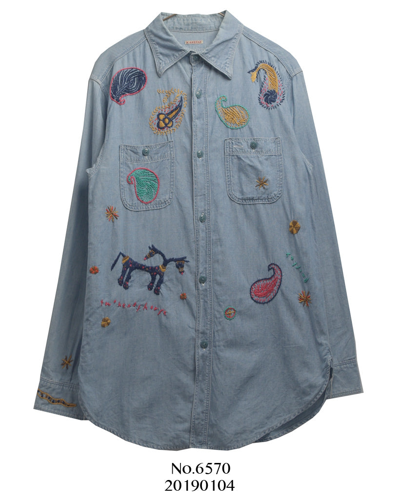 KAPITAL / Embroidery Chambray Shirt