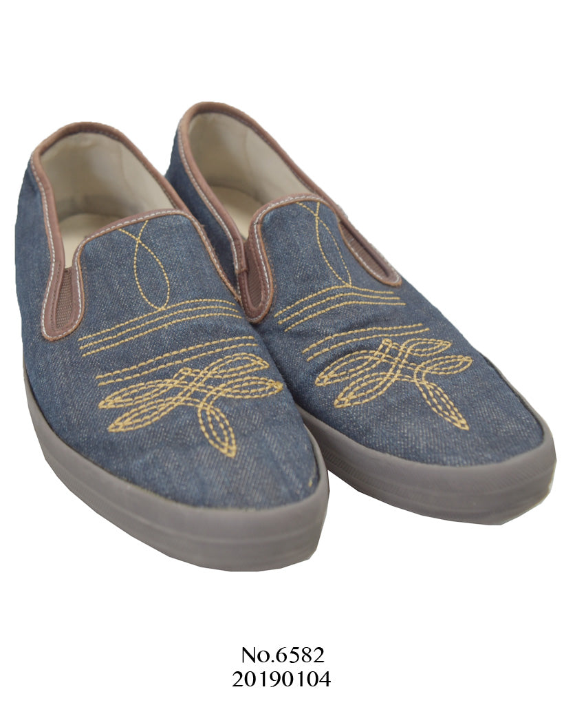 KAPITAL / Embroidered denim slip-on sneaker