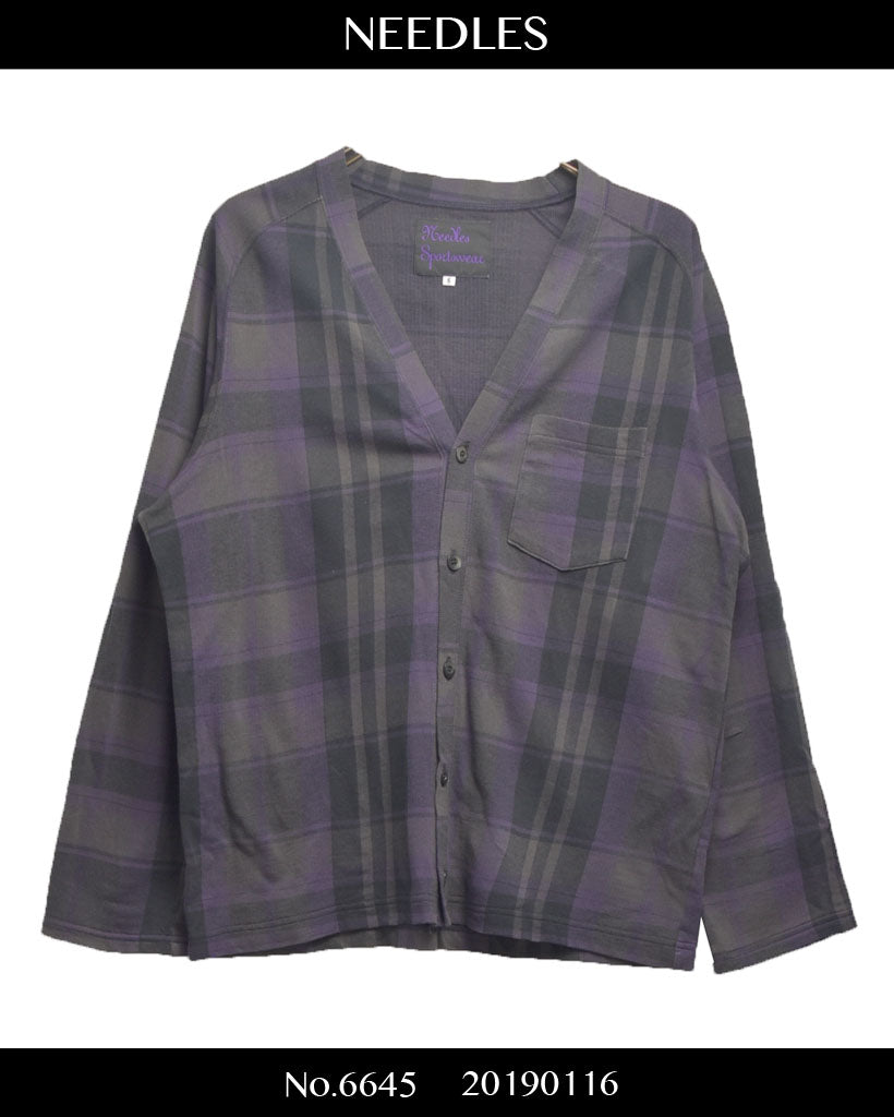 NEEDLES / Check cotton cardigan