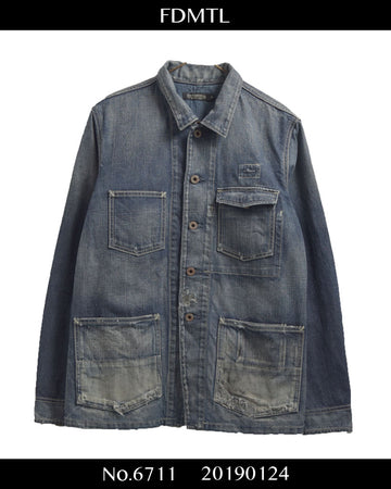 FNDMNTL / Damaged Denim Coverall Jacket