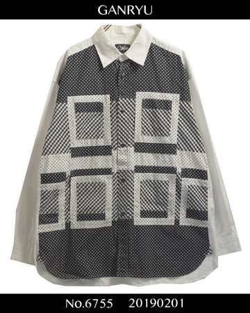 GANRYU / Collage check shirt