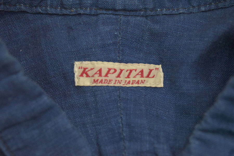 KAPITAL / No collar indigo shirt