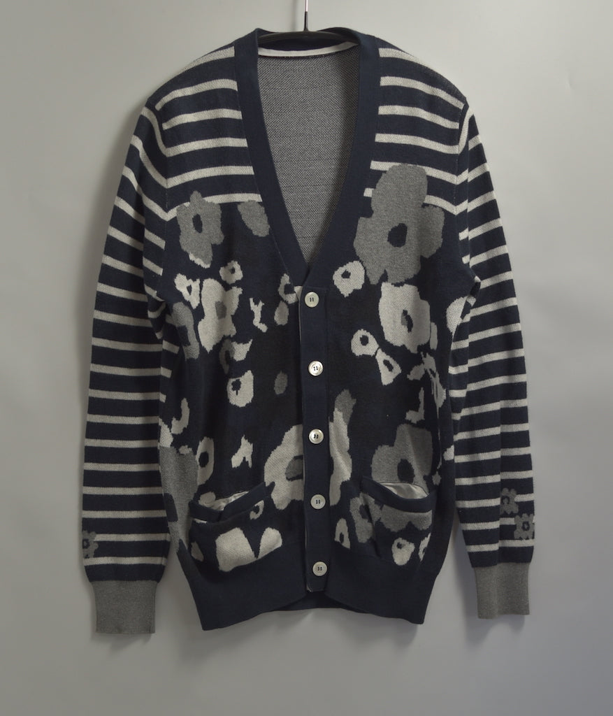 sacai / Flower Border Cotton Knit Cardigan Sweater
