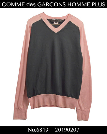 COMME des GARCONS HOMME PLUS / Pink Switching Knitted Sweater