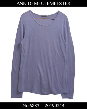 ANN DEMEULEMEESTER / Purple Long Sleeve Cutsew