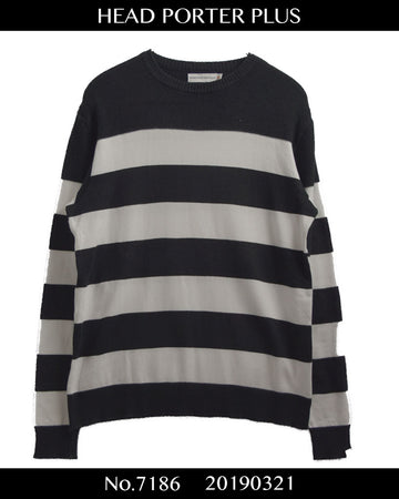HEAD PORTER PLUS / Impressive Border Knit Sweater