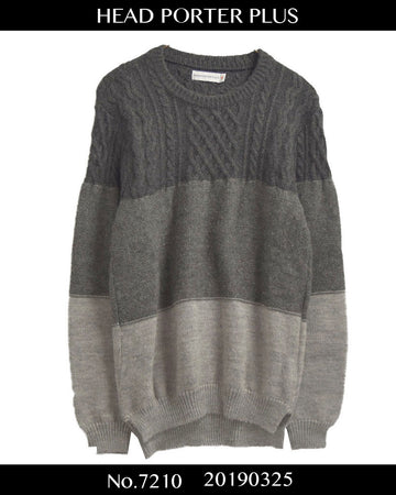 HEAD PORTER PLUS / Hybrid Cable Knit Sweater