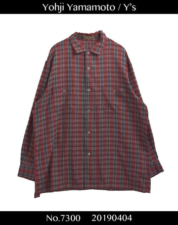 yohjiyamamoto / Red Check Long Shirt / 7300 - 0404 78.3