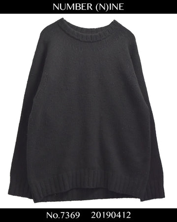 NUMBERNINE / Black Cotton Crewneck Knit Sweater / 7369 - 0412 69.5