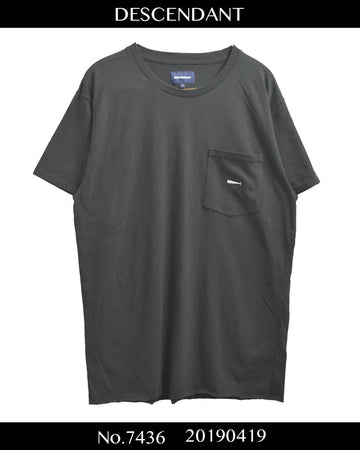 DESCENDANT / Black Logo Pocket T-shirt / 7436 - 0419 69.5