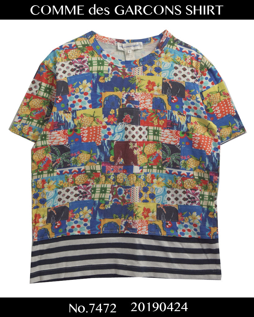 COMME des GARCONS SHIRT / Flower × Border Patchwork Cutsew / 7472 - 0424 70.05