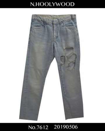 N.hoolywood / Iceblue Damaged Denim Pants / 7612 - 0506 48.666
