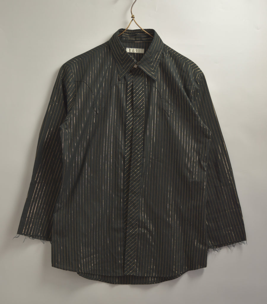 NUMBERNINE / Gold Stripe Dress Shirt / 7664 - 0510 64