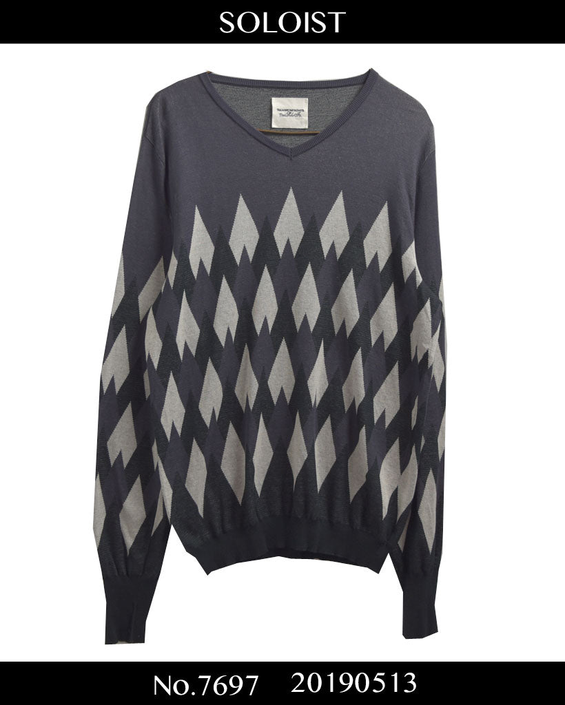 SOLOIST / Random Argyle Knit Sweater / 7697 - 0513 112.4